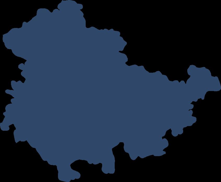 Kartenumriss von Thüringen